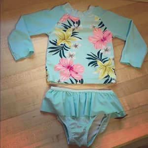 Tropical print bathing suit
